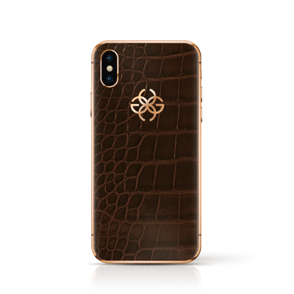 iPhone x brown croco rose gold