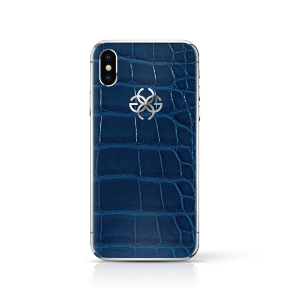 iPhone x navy croco silver