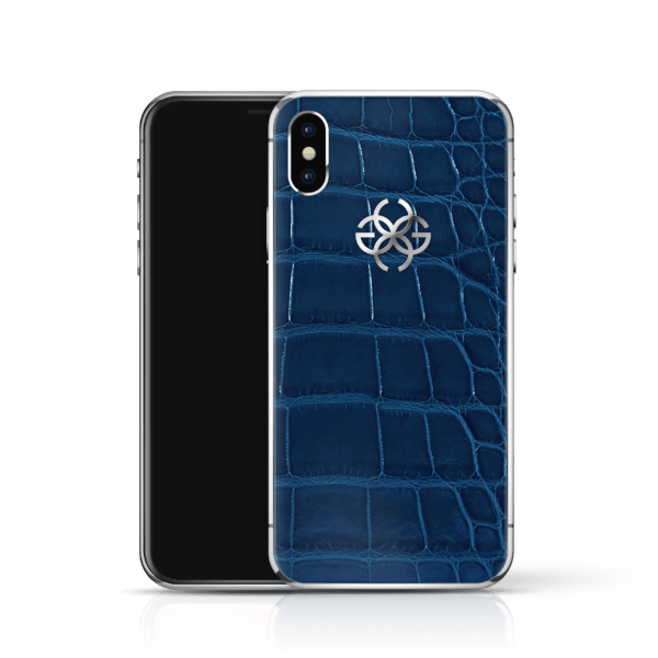 iPhone x navy croco silver2