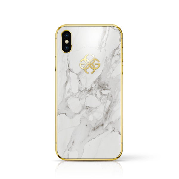 iPhone x white marbel gold