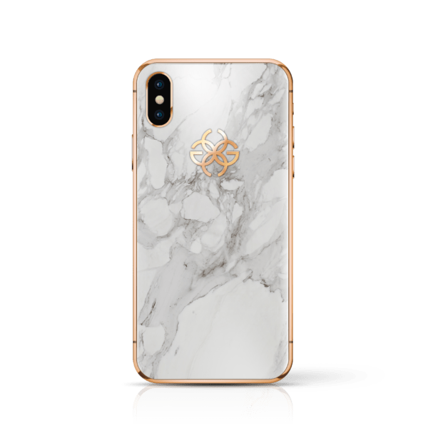 iPhone x white marbel rose gold