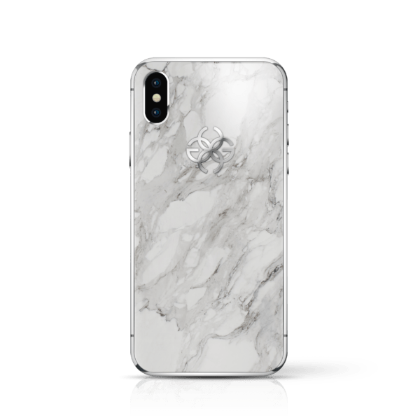 iPhone x white marbel silver