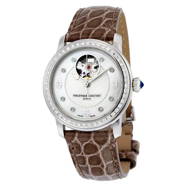frederique constant heart beat automatic mother of pearl diamond dial brown leather ladies watch fc 310hbad2pd4 fc 310hbad2pd6 2