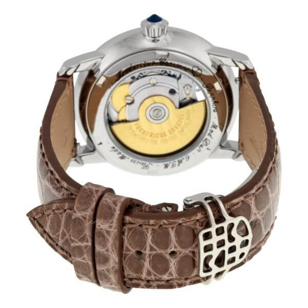 frederique constant heart beat automatic mother of pearl diamond dial brown leather ladies watch fc 310hbad2pd4 fc 310hbad2pd6 3