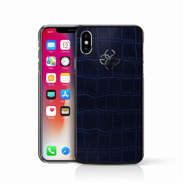 iphone x leather cover embossed croco blue black