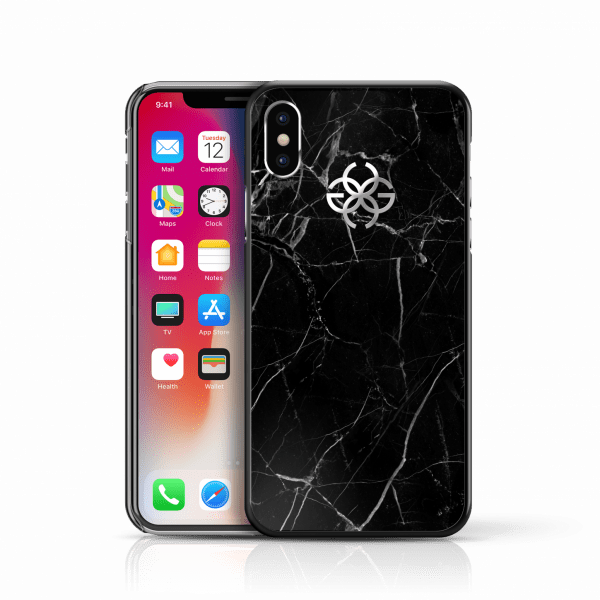 iphone x marble cover black silver