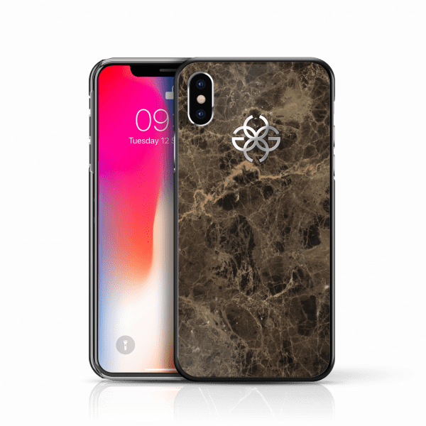 iphone x marble cover brown silver 2