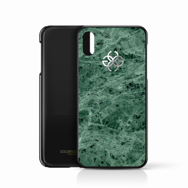 iphone x marble cover green silver